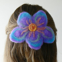Felted flower hair barrette