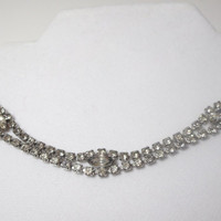 Vintage Rhinestone Choker Necklace and Earring set  by Kramer of New York 1950s high fashion elegant style