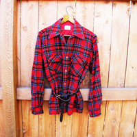 vintage red plaid wool work shirt. made by Cranbrook. size M for men, size L for women. unisex
