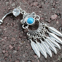 Gypsy Feather Belly Button Jewelry, Southwestern Turquoise Belly Button Ring