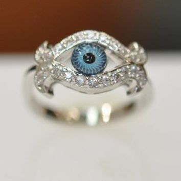 Amazon.com: Silver & Cz Evil Eye Ring: Jewelry