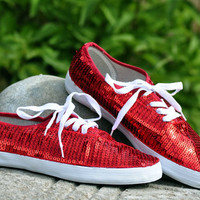 CVO Ruby Red Sequin Sneaker Tennis Shoes