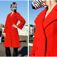 Vintage Bright Red Double Breasted Jacket with Bell Sleeves by French Designer Christian Aujard