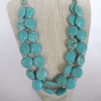Turquoise Coin Shaped Beads with Silver Spacers Double Strand Necklace Silver Toggle Fashion Giftunder 50