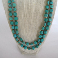 Turquoise Coin Shaped Beads with Brass Disc Spacers Double Strand Necklace Brass Toggle Fashion Giftunder 40