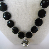 Black Onyx Disc Shaped Stones with Silver Spacers and Ornate Silver Pendant  Necklace Gift Fashion under 40