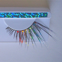 Rainbow Crystal Burlesque Steampunk Feather Eyelashes