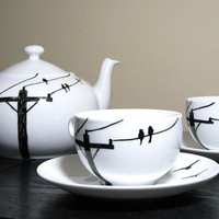 Painted Teacup Set 2 Birds on Wire by PrettyMyDrink on Etsy
