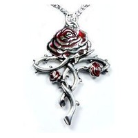 Amazon.com: Rosycroix Silver-Tone Pewter Gothic Druid Immortality Rose Pendant Necklace: Jewelry