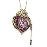 "Amazon.com: Betsey Johnson ""Lovely Leopard"" Heart Charm Necklace: Jewelry"