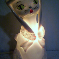 Cute Vintage I W Rice Cat Night Light Nite Perfume Lamp Japan IWRice Excellent