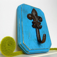 Fleur de Lis Hook Wall Hanging French Farmhouse Distressed Wood Home Decor