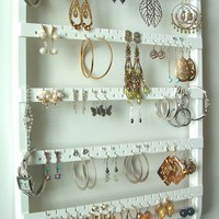 Jewelry Organizer, Earring Organizer, Boutique Quality & Design, 90-180 Pairs, 7 Pegs, Cabinet Grade White Paint, Maple, Wood, Ships 10/5