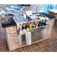 Built-In Cocktail Station and Sink for Wet Bar with Drainboard