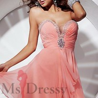A-line Sweetheart Short/Mini Chiffon Homecoming Dress With Brooch at Msdressy