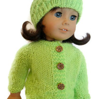 Sweater and Hat Set Lime Green Knit American Girl Doll