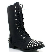 studded-lace-up-combat-boots BLACK CHESTNUT TAUPE - GoJane.com