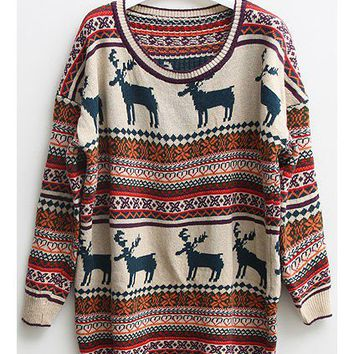 Nordic Print Oversized Knitted Jumper - Oasap High Street Fashion