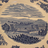 1891 - 1900 circa. - Johnson Bros. England - Old Britain Castles: Chatsworth Ironstone Plate (Blue)