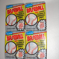 1989 Fleer Vintage Basbeball Cards - 4 packs - 60 Cards & 4 Stickers - Un-Opened - Fantastic Stocking Stuffers