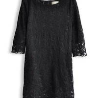 Black Half Sleeve Hollow Lace Embroidery Dress - Sheinside.com