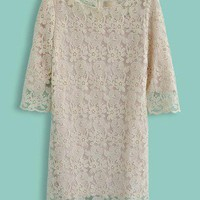 Beige Half Sleeve Hollow Lace Embroidery Dress - Sheinside.com
