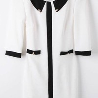 White Lapel Half Sleeve Metal Bow Bodycon Dress - Sheinside.com
