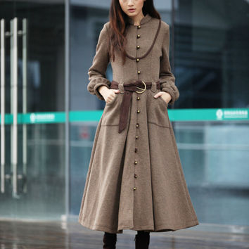 Camel Cashmere Coat Long Sleeve Wool Jacket Big Sweep Maxi Wool Winter Coat Long Dress Coat for Women - NC232