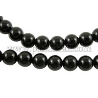 """""""Black Agate Gemstone Beads Strands, Round, Grade A, about 6mm in diameter, hole: 0.8mm; about 65pcs/strand, 15.5"""""""" - Default"""