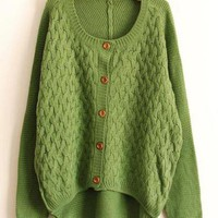 Asymmetric Twist  Green Sweater$42.00