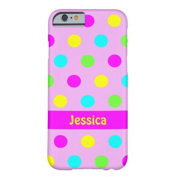 Funny Colorful Polka Dots - Name iPhone 6 Cover