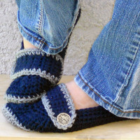 Midnight crocheted slippers, booties, shoes, socks with a button strap.