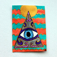 ACEO Original Pyramid painting from Tina Lynn Ellis