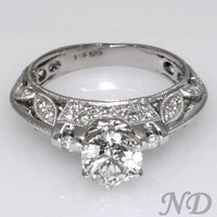 Antique Style Diamond Filigree Ring 1.25 ct. G/SI1