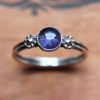 Iolite ring - silver daisy ring - water sapphire - blue - flower - tiny silver daisy ring - September birthstone - size 7