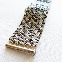 Matrix. Urban cuff/ bracelet. Silver Titanium Metallic mix modern chic jewelry.