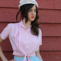 ON SALE SALE 50s pink blouse pin up rockabilly vlv shirt crop top plus size  xl