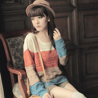 Sweet Cute Striped loose Round Neck Hollow Knitting Long Section Sweater C36Z