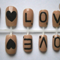 Scrabble Love Romantic Nail Art False Nails Set