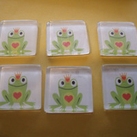 Frog Prince Magnets, Set of 6, Baby Shower Favor