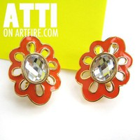 Bright Orange on Gold Floral Shaped Scallop Rhinestone Stud Earrings