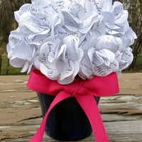 Personalized Flowerpot Centerpiece Custom  Paper Rose Keepsake for  Wedding,  Christening,  Birthday , Anniversary,  Bridal  or Baby Shower