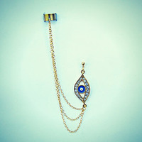 evil eye ear cuff earrings, chains ear cuff, ear cuff with chains, boho earrings, evil eye earrings