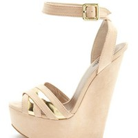 Sueded Metallic Crisscross Wedge: Charlotte Russe