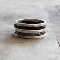 set of 5 sterling silver stackable rings