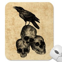 Slim Pickings Crow Skulls Gothic Art Mousepad from Zazzle.com