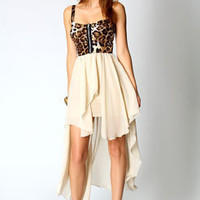 Georgina Leopard Print Top Chiffon Mixi Dress