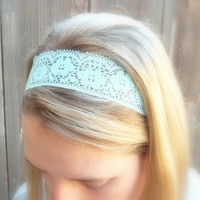 M I N T - Mint Green Lace Floral Trim Women's Black Stretch Elastic Headwrap Headband