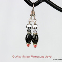 Creepy and Cute Skull Earrings black and white Halloween