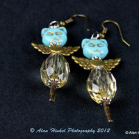 Turquoise Color Angel Cat Earrings flying kitty RESERVED for Sue